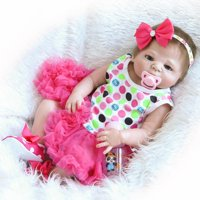 """Full Realistic Silicone Baby Dolls Reborn Baby Doll 23"""" Lovely Cute Baby Girl In Dress Pink"""