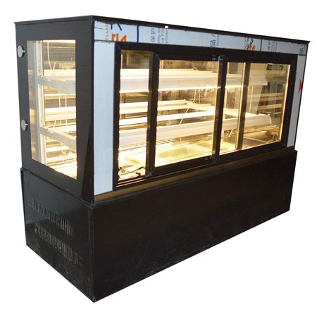 INTBUYING 47 Inch Countertop Glass Refrigerated Cake Showcase Bekery Display Cabinet Front Door 315W 220V Ambient Temperature 35.6℉-46.4℉