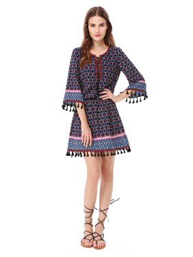 4955668cee5 Product Image Ever-Pretty Womens Sexy Short Boho Printed Long Sleeve Cocktail  Party Sun Beach Holiday SummerCasual
