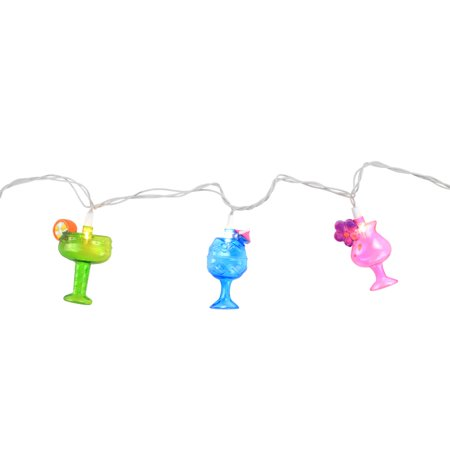 Set of 10 Happy Hour Colorful Cocktails Patio and Garden Novelty Christmas Lights - White Wire ()