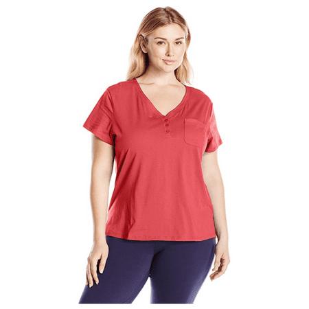 Karen Neuburger Women's Short Sleeve T-Shirt Pajama Top PJ, Poppy Red, Medium