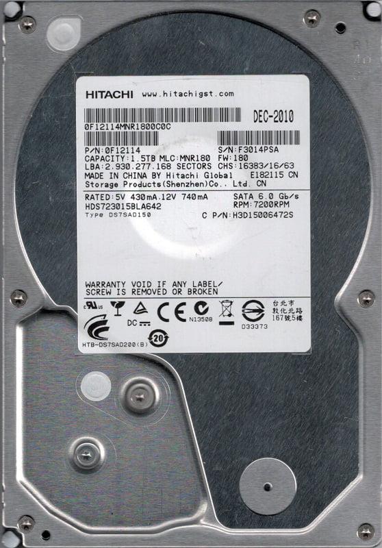 Hitachi HDS723015BLA642 P N: 0F12114 MLC: MNR180 1.5TB by Hitachi