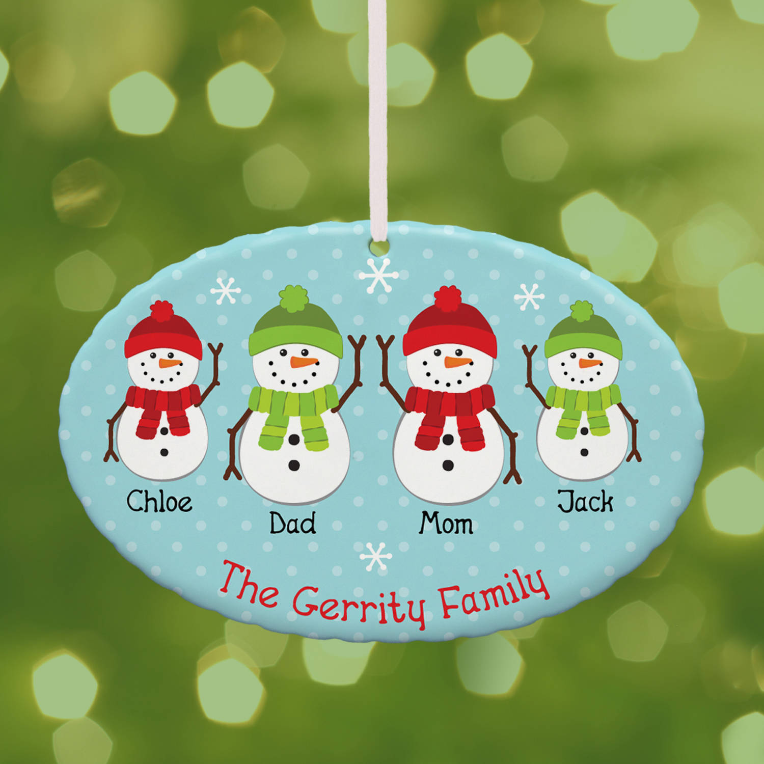 Personalized Snowman Family Character Oval Christmas Ornament