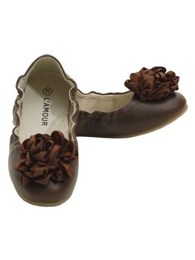 Brown Slip On Ballet Dress Shoes Toddler 5-Little Girls 4