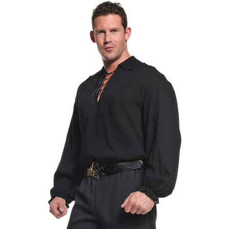 Black Pirate Shirt Adult Halloween Costume](Pirate Halloween Sayings)