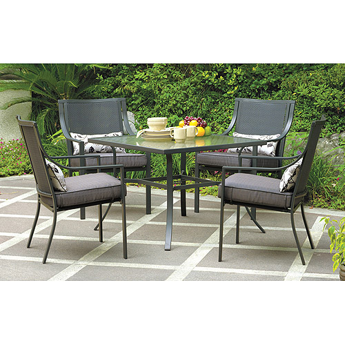 Mainstays Alexandra Square 5 Piece Patio Dining Set, Grey With Leaves,  Seats 4