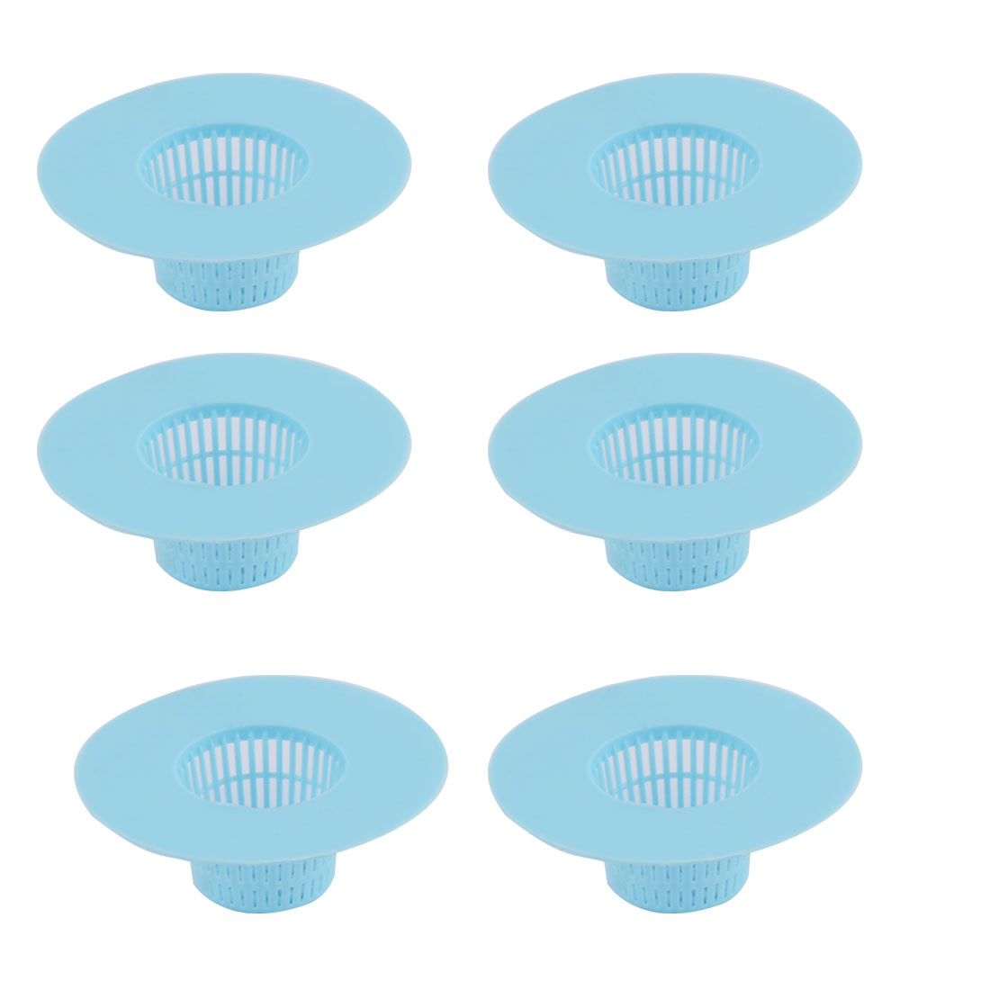 Unique Bargains 6pcs Bathroom Plastic Wash Face Basin Water Sink Drainer Strainer