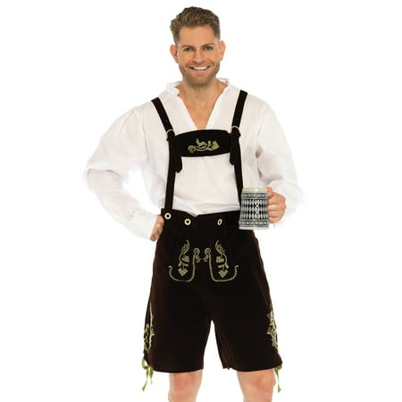 Leg Avenue Men's 3 Piece Oktoberfest Lederhosen Costume, Brown/White, - Small Mens Costumes