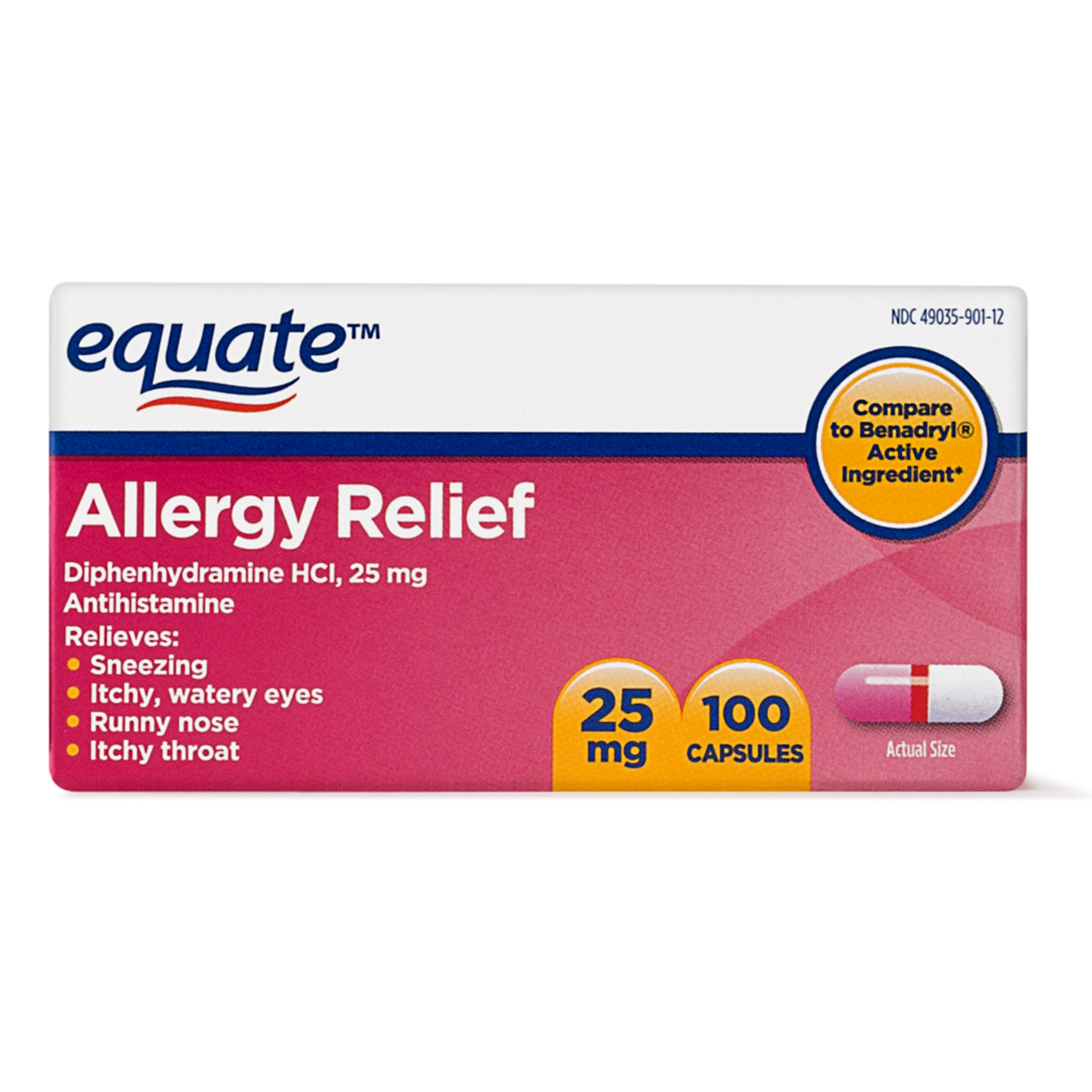 Equate Allergy Relief Diphenhydramine Antihistamine Capsules, 25 mg, 100 Ct