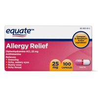 Equate Allergy Relief Diphenhydramine Capsules 25mg, 100 Ct