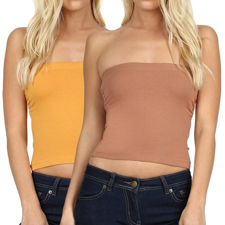 c5a0e47700 TheLovely - Women s   Juniors Cropped Strapless Built-in Bra Cute Sexy  Cotton Tube Tops - Walmart.com