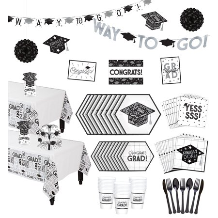 Party City Grid Graduation Hexagon Tableware Kit for 36 Guests - Party City Rockville