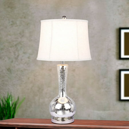 m.r. Lamp & Shade W-5140 Modern 27.5 in. Genie Bottle Mercury Glass with Metal Accents Table Lamp - Polished Nickel