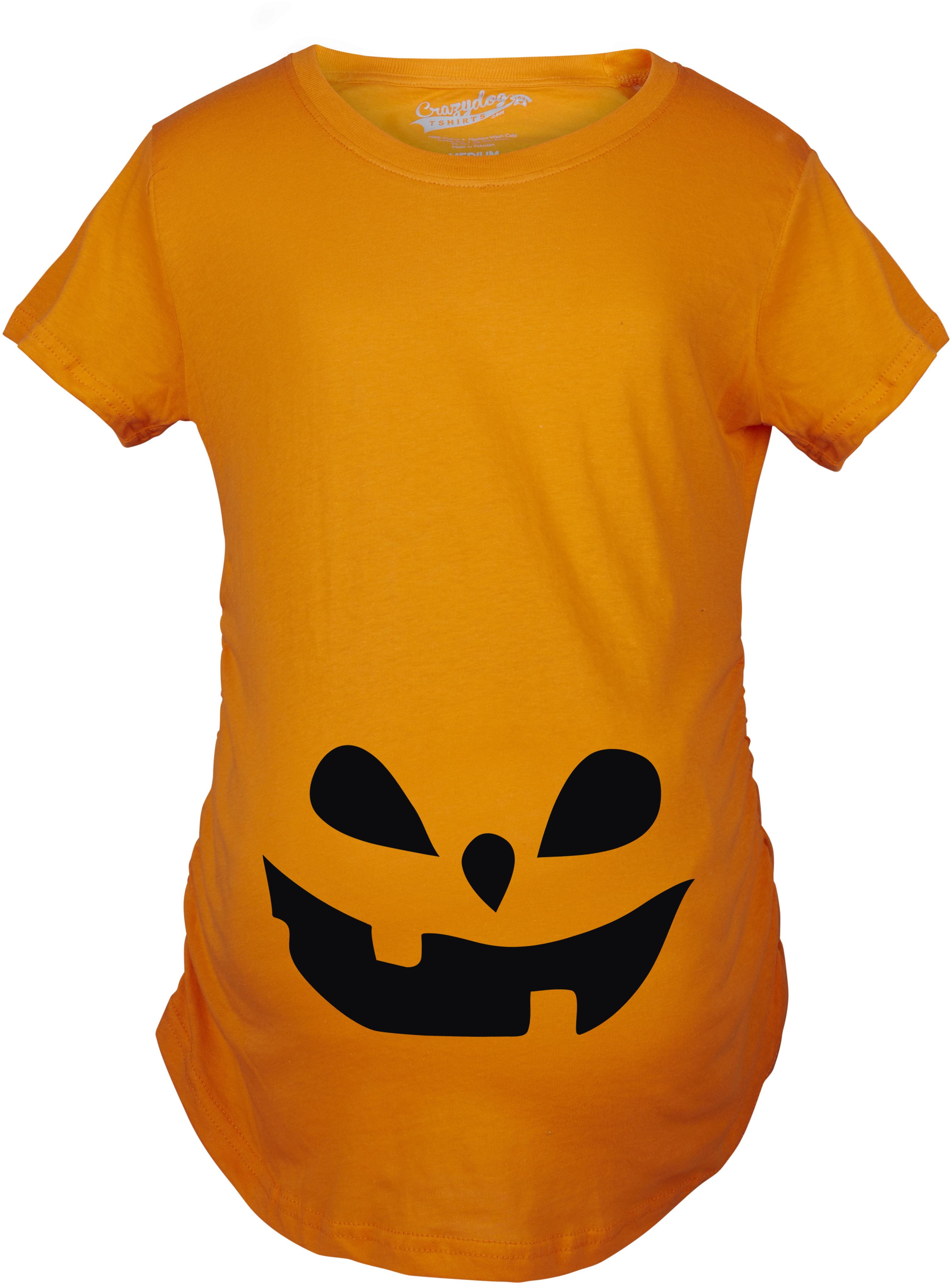 Maternity Teardrop Eyes Pumpkin Face Halloween Pregnancy Announcement T shirt