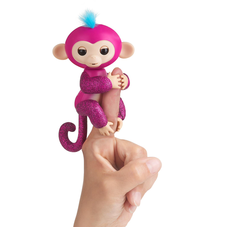 Fingerlings Glitter Monkey - Razz (Raspberry Glitter) - Interactive Baby Pet - By WowWee