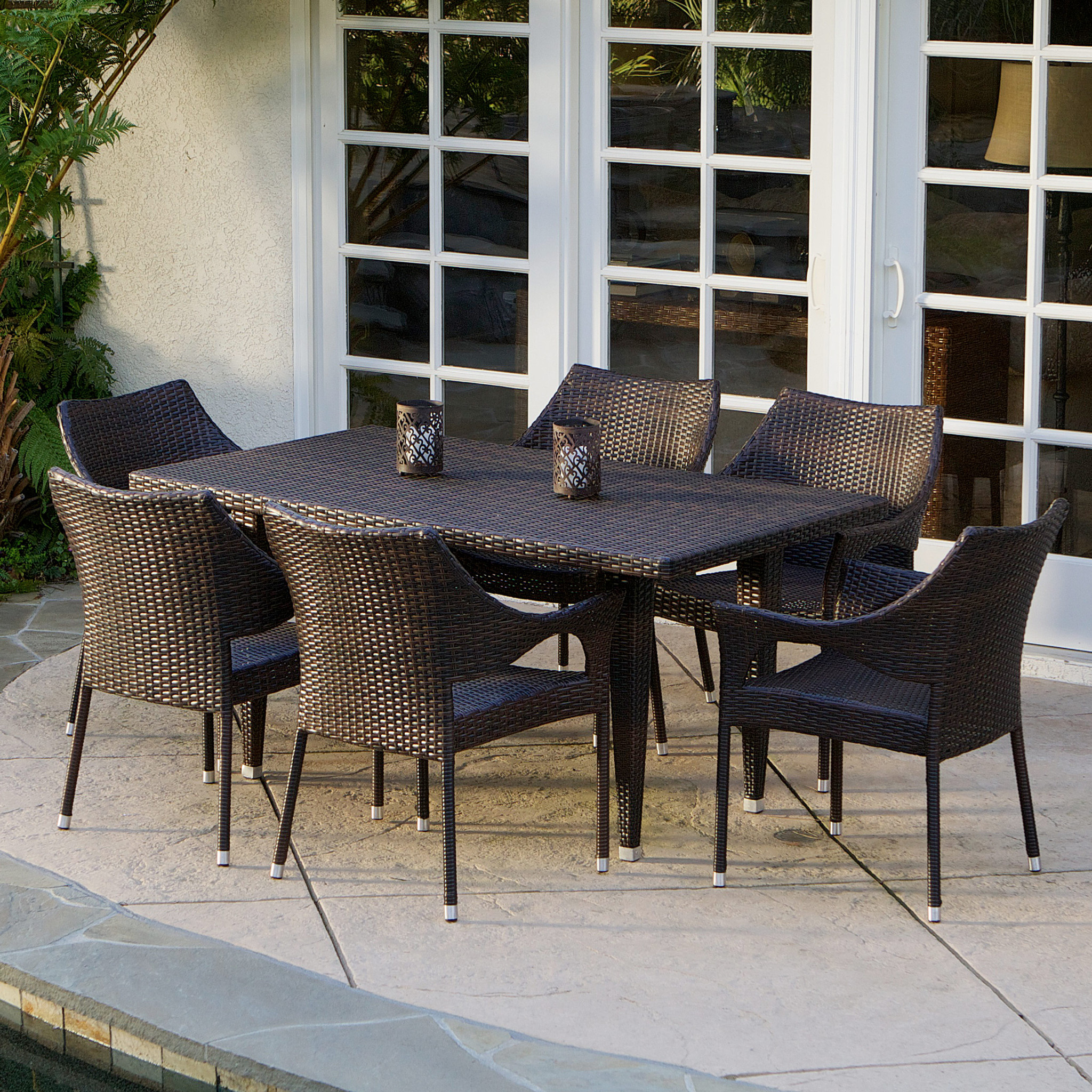 Jackson Brown PE Wicker 7-piece Outdoor Dining Set