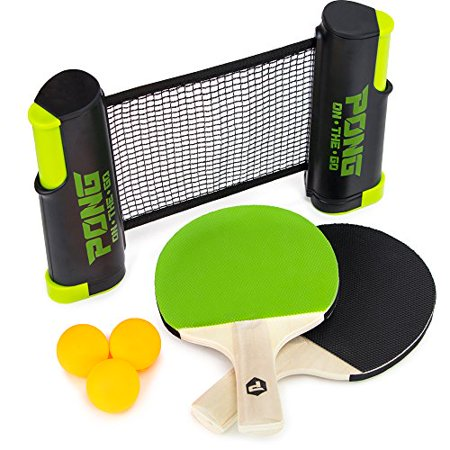 Brybelly Pong on the Go! Portable Table Tennis Playset with Net, Paddles, Balls, and Carry