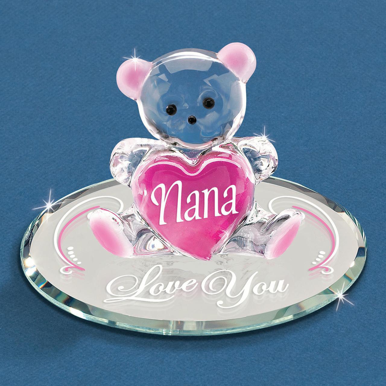 Nana Love You Bear Glass Figurine Religious Baptism/christening/communion Grparent Great For Women