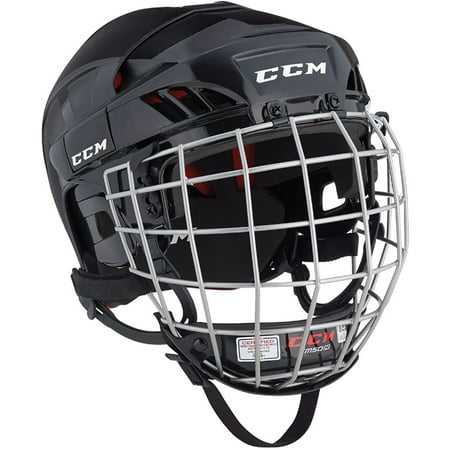 CCM HT50 Hockey Helmet with Cage (Black) (Best Youth Hockey Helmet)