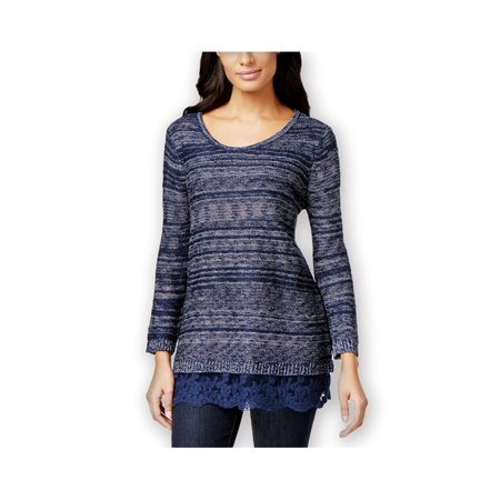 Style&co. Womens Lace-Hem Marled Pullover Sweater industrialblue M - image 1 of 1