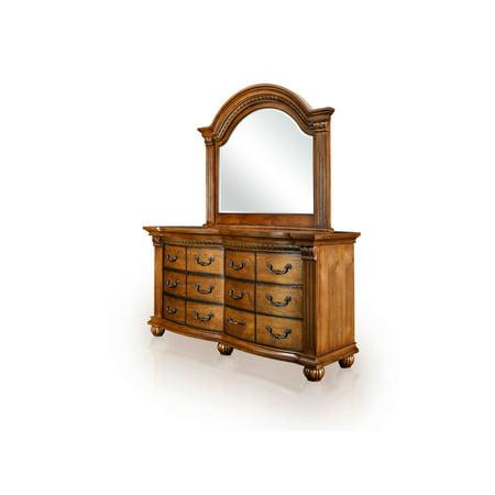 Furniture of America Saldano Dresser and Mirror Set, Tobacco Oak