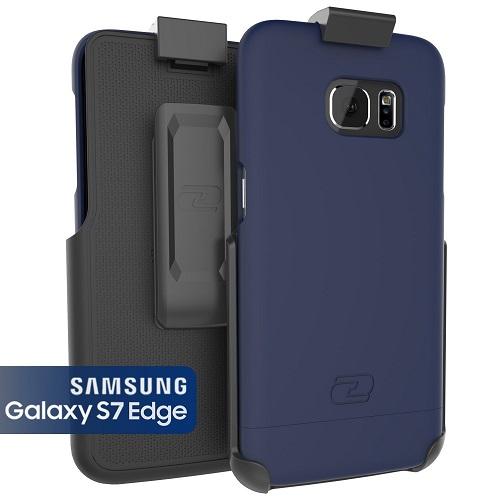 Galaxy S7 Edge Belt Clip Case, Encased (SlimShield Series) Hybrid Cover w/ Secure-fit Holster (2pc set)