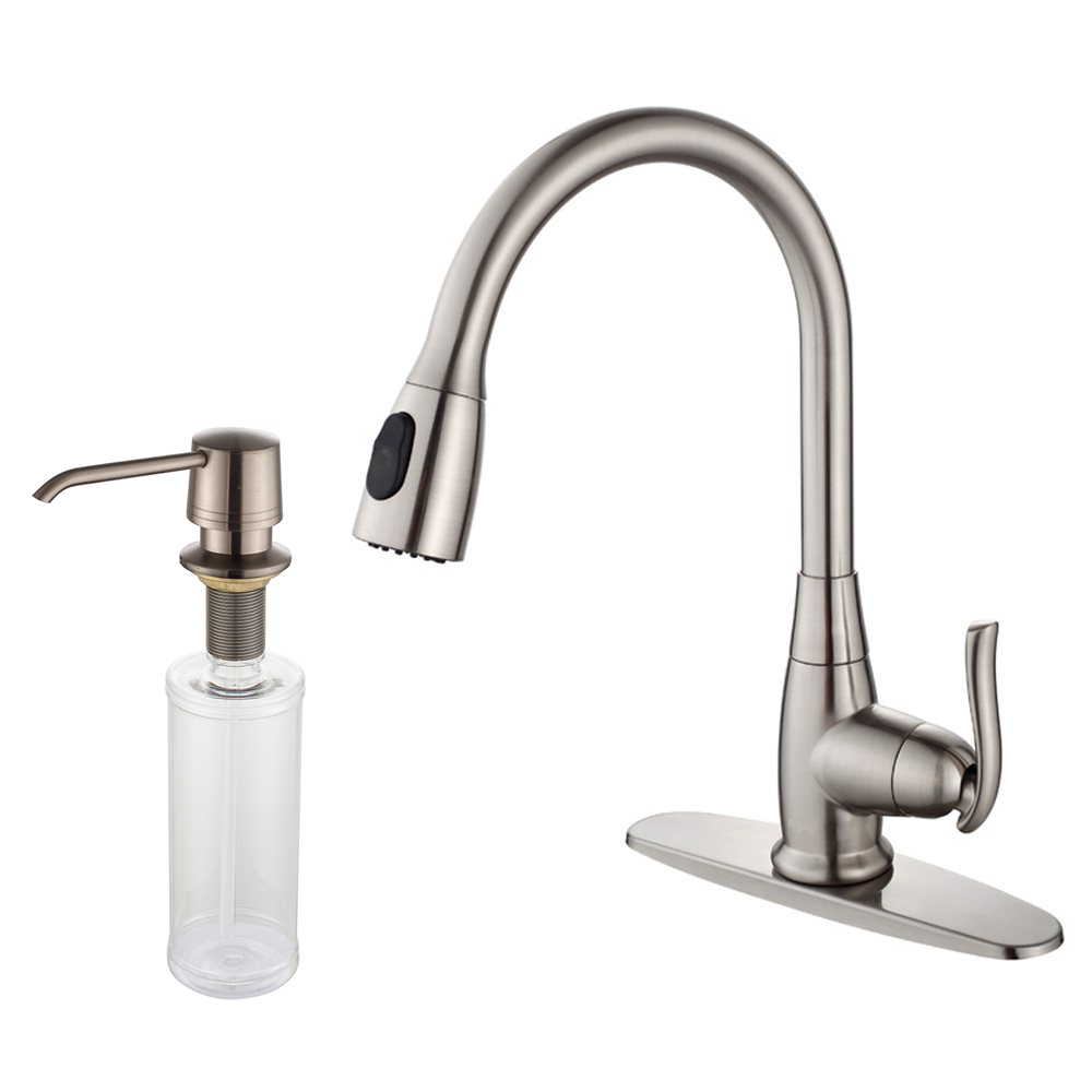 KRAUS Single Handle Stainless Steel High Arch Kitchen Faucet With Pull Down  Dual Function Sprayer And Soap Dispenser In Satin Nickel   Walmart.com
