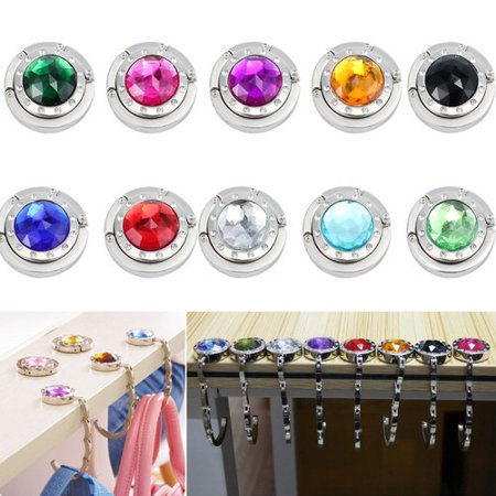 ESYNIC Folding Table Hooks Crystal Hang Bag Table Hooks for Bag Purse Handbag Umbrella Hanger Holder Weding Gift 10pcs