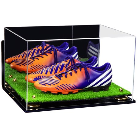 Acrylic Shoe Displays - Deluxe Acrylic Large Shoe Pair Display Case for Basketball Shoes Soccer Cleats Football Cleats with Mirror, Wall Mount, Gold Risers and Turf Base (A082-GR)