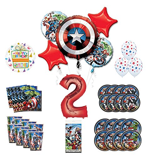 Mayflower Products Avengers 2nd Birthday Party Supplies and 8 Guest Balloon Decoration Kit