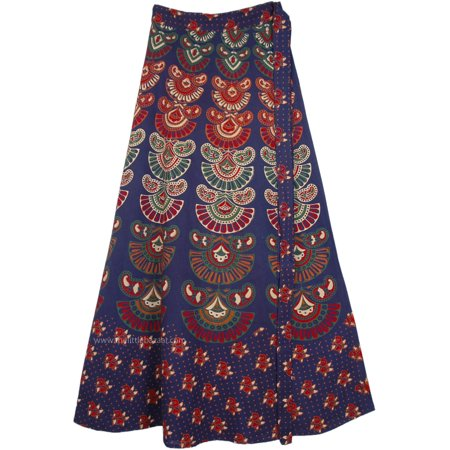 Ethnic Indian Printed Cotton Wrap Around Long Skirt in Navy Blue Cotton Long Skirt Wrap