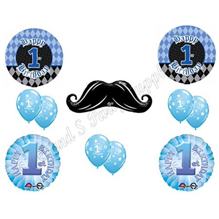 FIRST BIRTHDAY REBEL MUSTACHE Birthday Balloons Decoration Supplies Party Boy (Boy 1st Birthday Party Supplies)