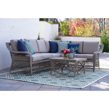 5pc Birmingham All-Weather Wicker Corner Sectional Tan - Leisure Made