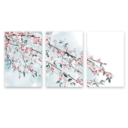 wall26 - 3 Panel Canvas Wall Art - Ink Painting Style Pink Cherry Blossom on The Branch - Giclee Print Gallery Wrap Modern Home Decor Ready to Hang - 24