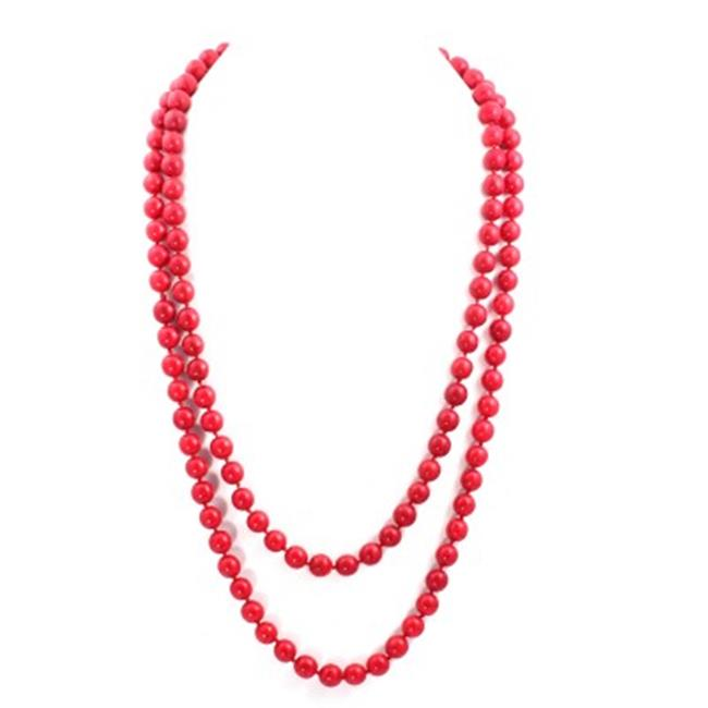 C Jewelry Coral Bead Long Necklace