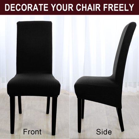 Stretch Knit Jacquard Chair Cover High Back Seat Cover Slipcover Protector Black - image 5 de 7