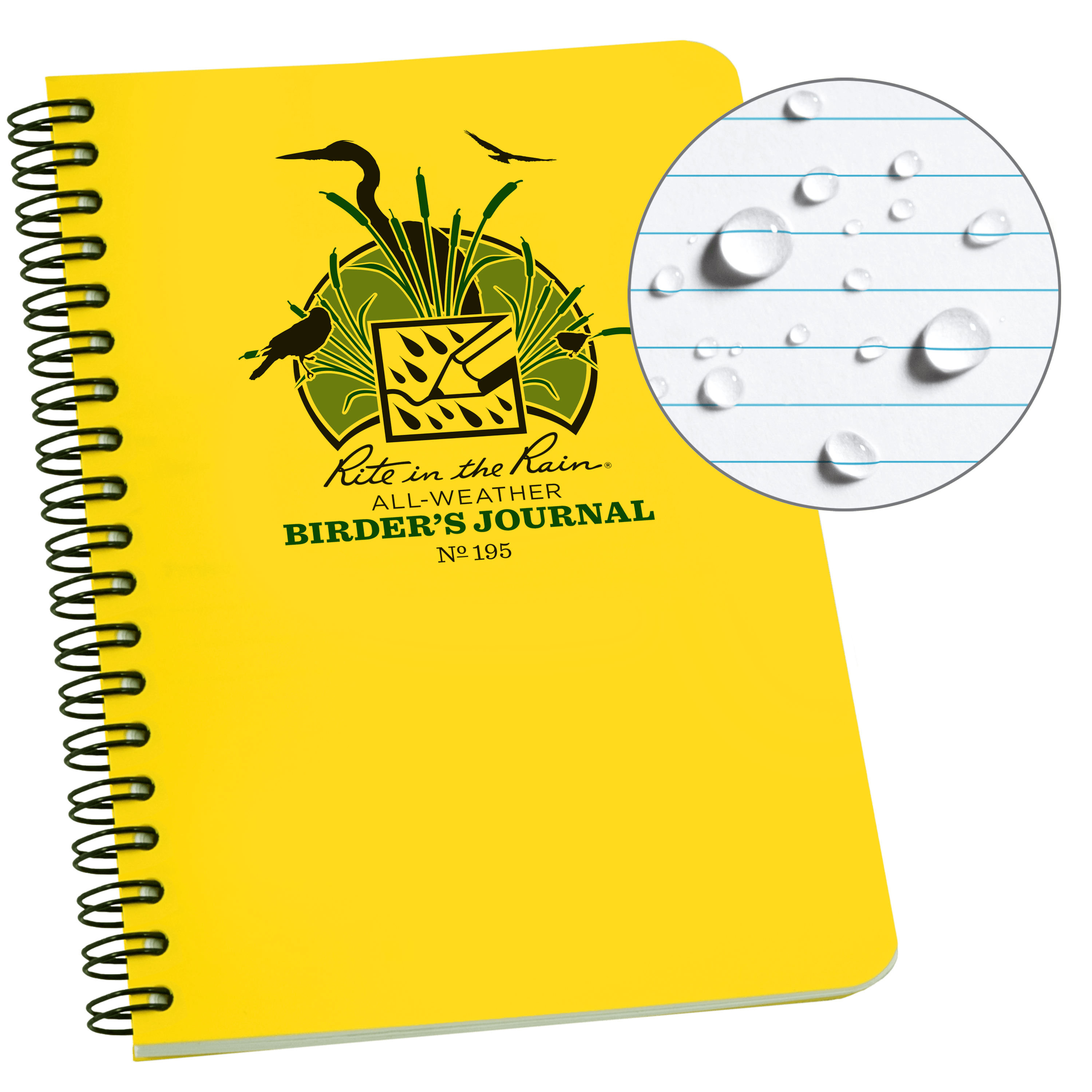"""Rite in the Rain All Weather Spiral Notebook, 4 5/8"""" x 7"""", Yellow Cover, Birders Journal (No. 195)"""