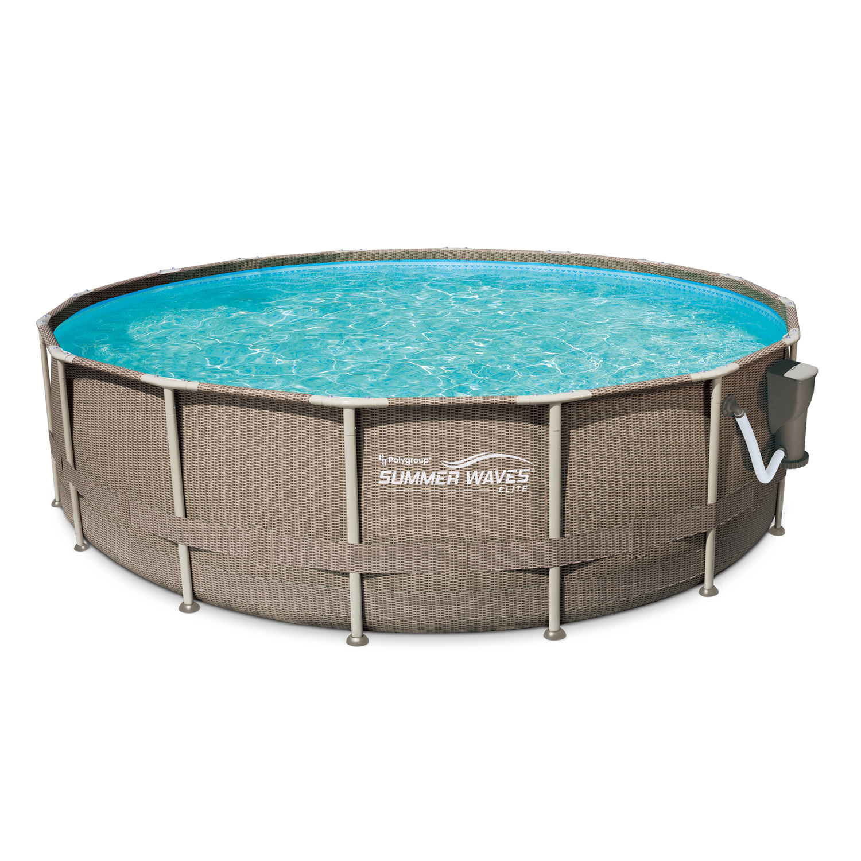 """Summer Waves Elite 16'x48"""" Premium Frame Pool, Basket Weave Wicker Print"""