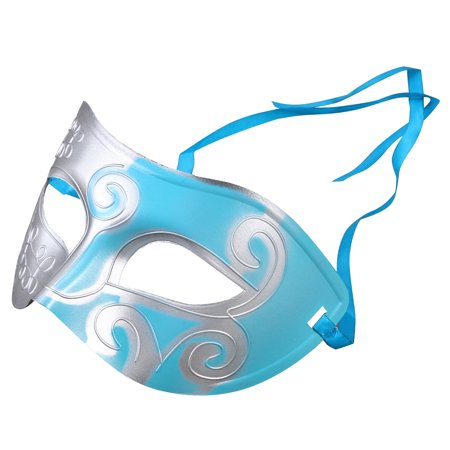 Halloween Party Half Face Mask Engraving Masquerade Party Mask Party Favors Dress Up Costume Creative Gift for Men (Blue) - Creative Costume For Men