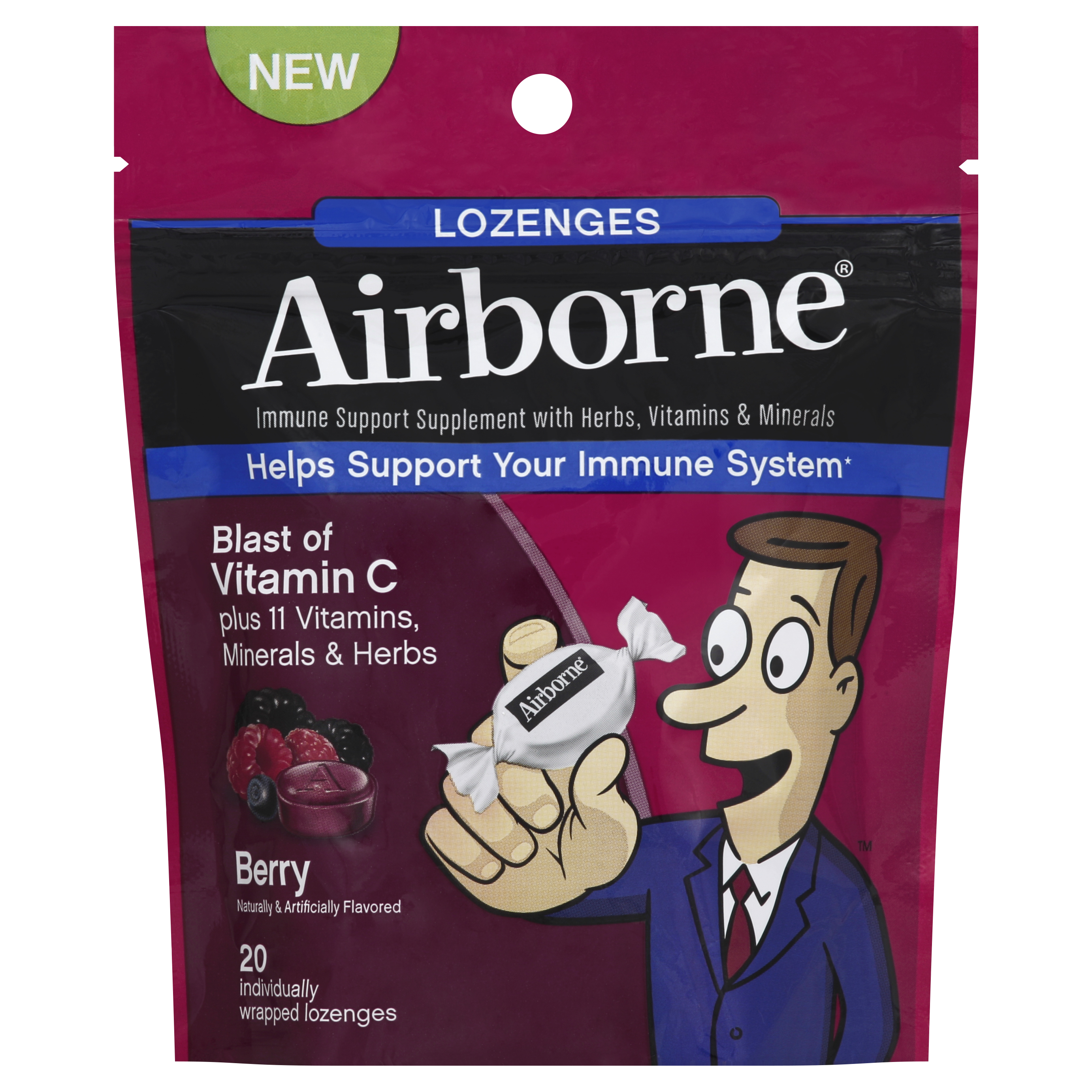 Airborne Lozenges, Berry Flavor, 20 Count