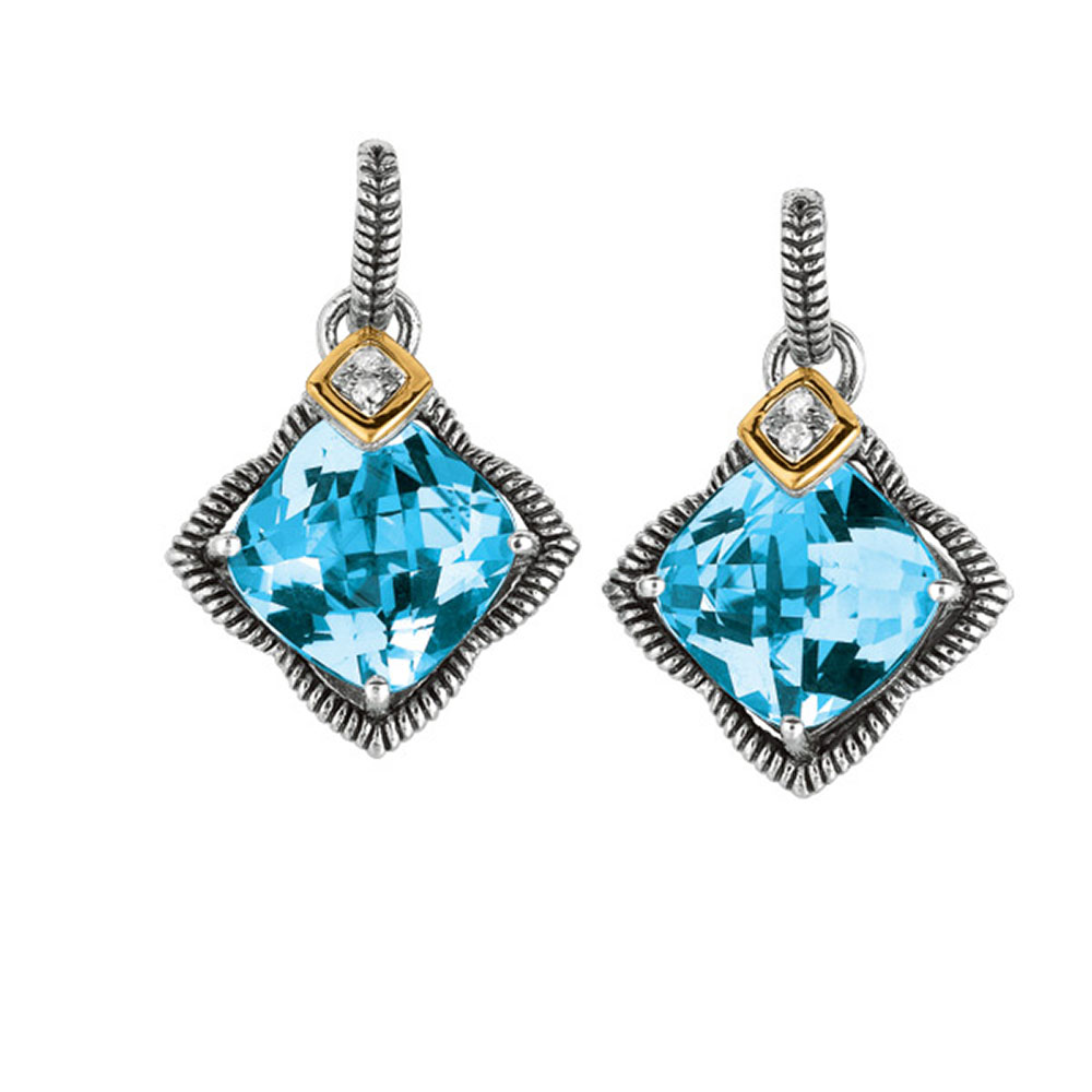 Phillip Gavriel 18k Gold & Sterling Silver Diamond, Blue Topaz Star Earrings