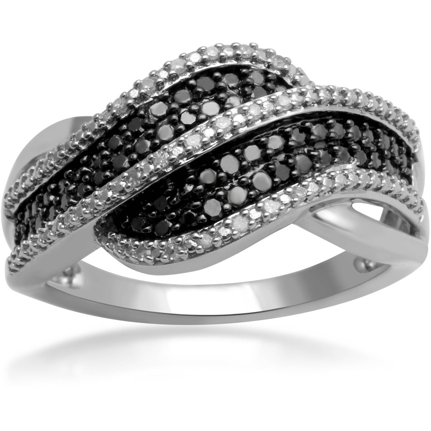 1/10 Carat T.W. White and Black Diamond Sterling Silver Fashion Ring