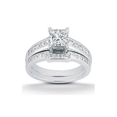 1ct Princess Cut Channel Set Diamond Wedding Engagement Ring 14K White