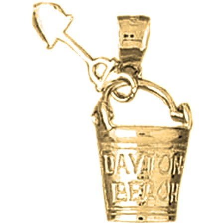Yellow Gold-plated 925 Sterling Silver Daytona Beach Pail And Shovel Pendant - 24 mm (Approx. 3.485 grams)