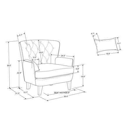 Lifestyle Solutions Lille Tufted Accent Club Chair with Nailhead Trim, Cream Fabric