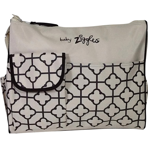 Baby Ziggles Trendy Royal Print Design Diaper Bag, Ivory/Brown