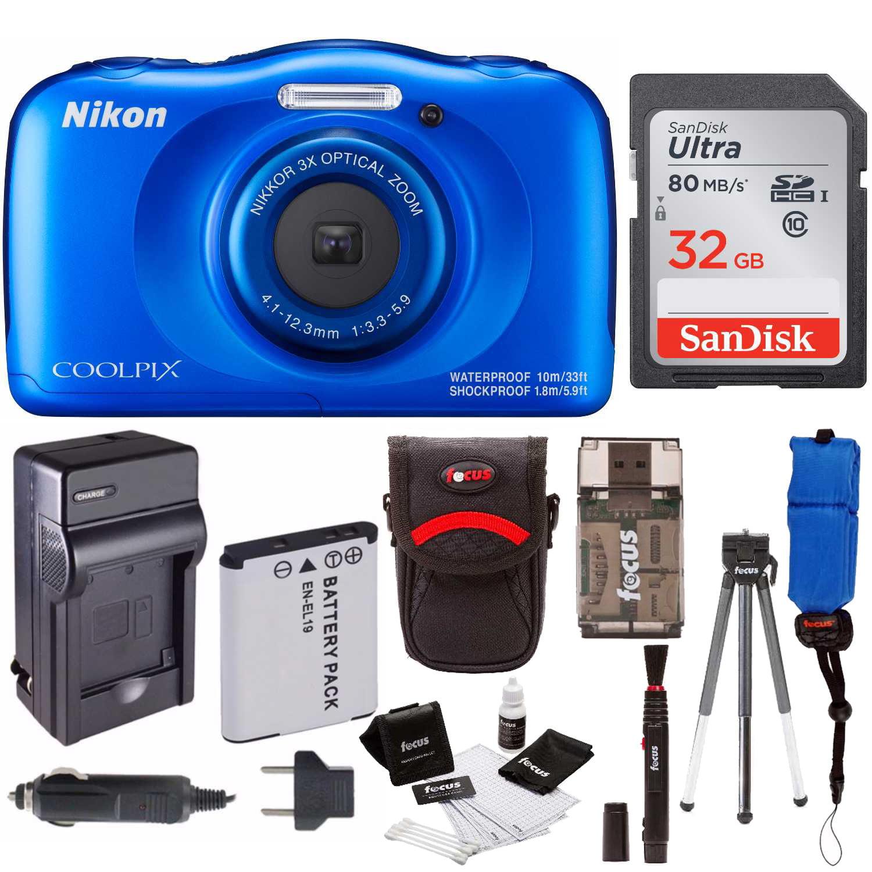 Nikon Coolpix W100 Rugged Digital Camera (Blue) w/ 32GB Accessory Bundle