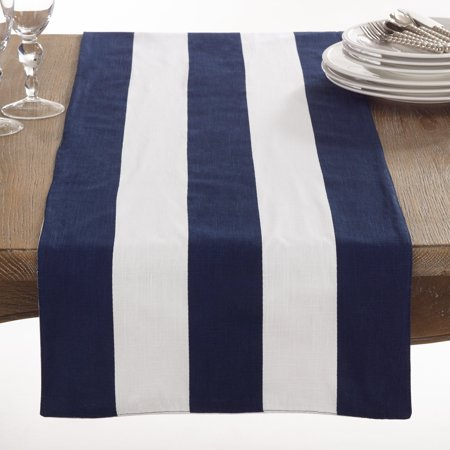 Saro Saint John Collection Striped Design Cotton Table Runner
