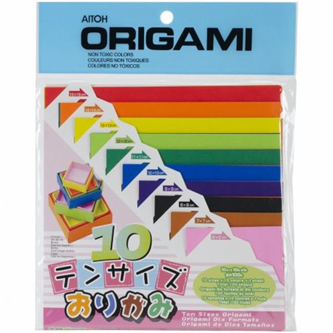Origami Paper 100-Pkg-Ten Assorted Sizes