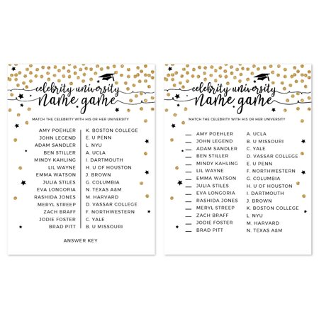 White and Gold Glittering Graduation, Celebrity Name Game Cards, 20-Pack (Graduation Name Cards)